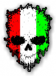 Dripping Skull With Italian Flag external Vinyl Car Sticker 85x120mm